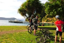 Cyclists at Ship Cove Beachcomber cruises