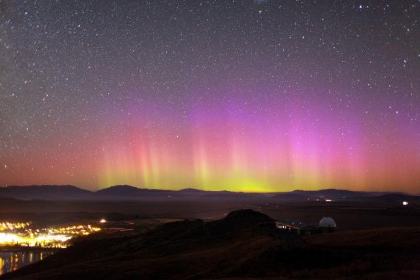Southern lights in Lake Tekapo, New Zealand Aurora Australis