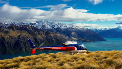 Queenstown Helicopter Scenic Flights landing with views over Lake Wakatipu