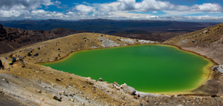 View over Green Lake on Tongariro Crossing