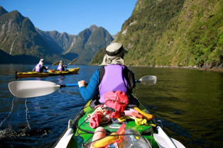 sea kayaking paddling through Doubtful Sound