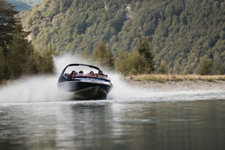 wilderness jet boating with unique Funyak inflatable canoes exploring the Dart River Glenorchy