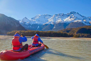 Unique Funyak inflatable canoes exploring the Dart River Glenorchy