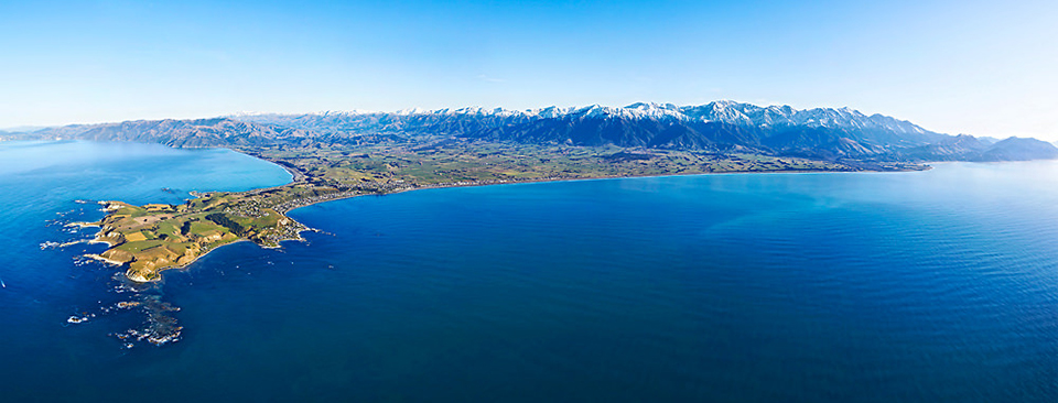 Aerial view of North & South Kaikoura's coastline