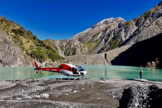 Kaikoura helicopters landing near glacial lake in the Kaikoura ranges