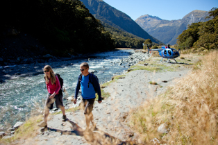 walkers dropped off by helicopter in the Wilkin Valley walking to the Makarora river