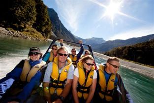 Passengers on Jet boat on the Makarora River - Wilkin River Jet