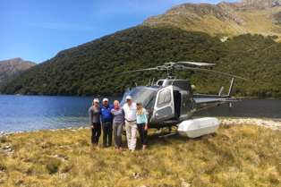 Helicopter landing in the Mt. Aspiring National Park