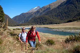 couple walking in the Wilkin River Valley walking track