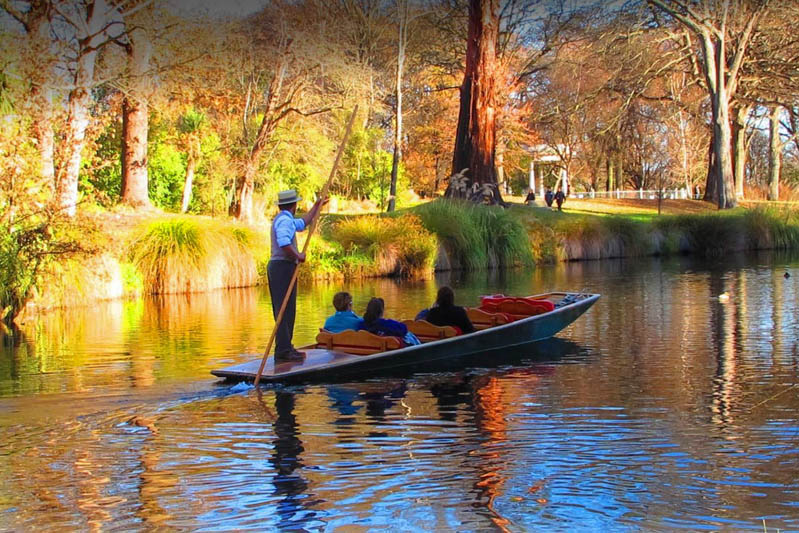 Punting on the Avon river Christchurch