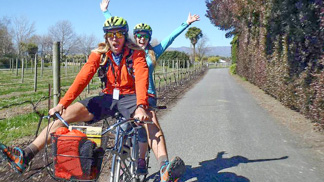 Couple on hire bikes on a self guided wine tour in Marlborough