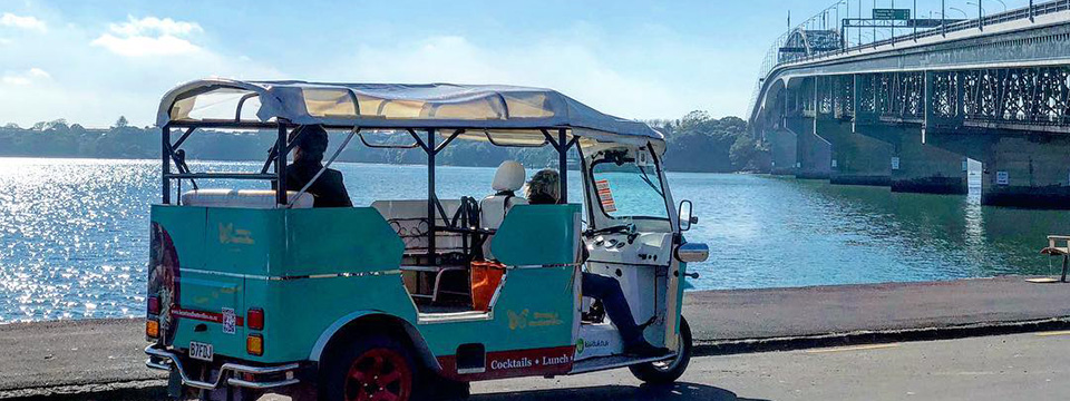 Auckland Kiwi tuk tuk at Auckland Harbour bridge