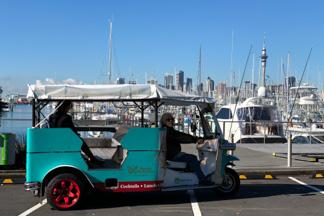 Kiwi Tuk Tuk tour at Auckland marina