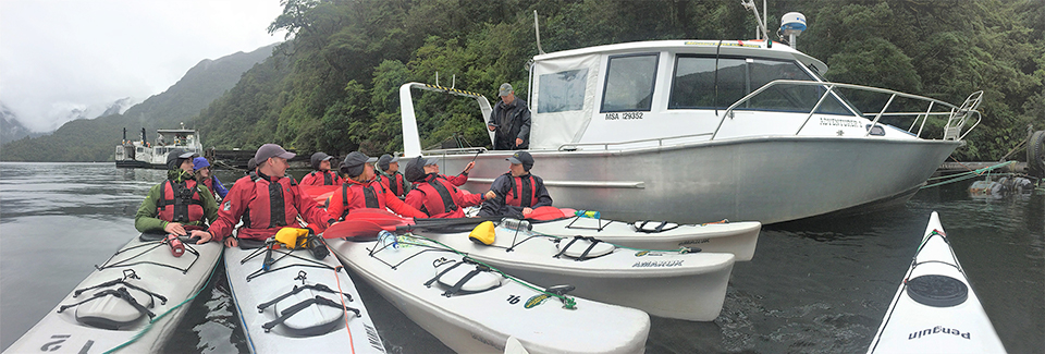 Guided Kayaking trip getting safety Brief in Doubtful sound