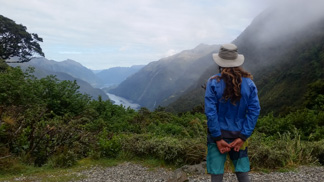 man looking at view to Doubtful Sound
