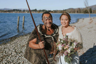 Maori Greeting with wedding bride on Lake Wanaka waterfront