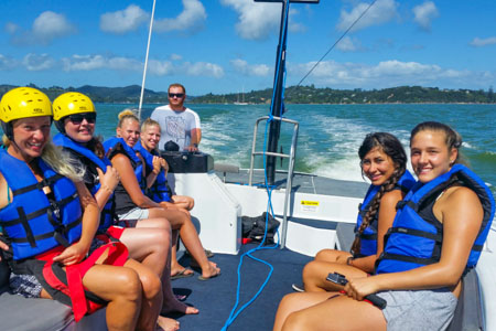 family group trip on Kiwi Parasail trip Bay of Islands