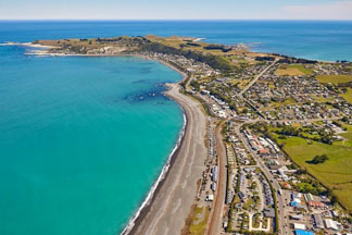 aerial view over Kaikoura's North Bay from Scenic flight Kaikoura helicopters