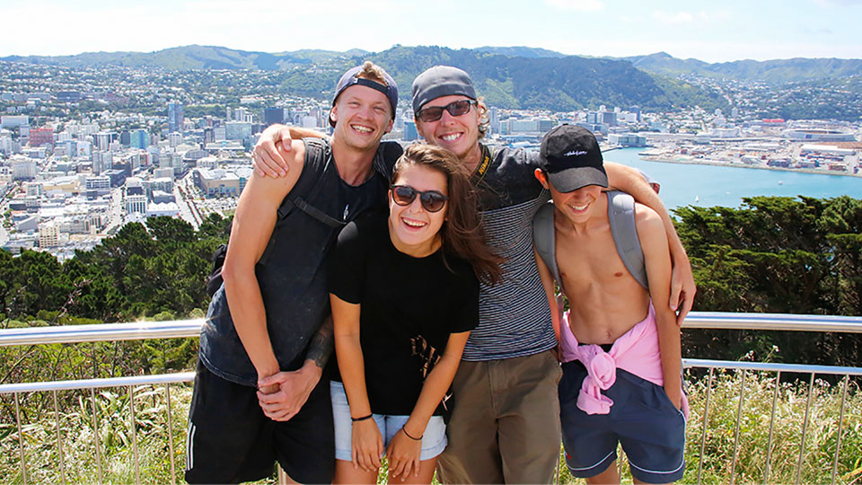 Backpacers posing for photo at Mt. Victoria, Wellington